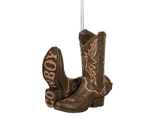 Midwest Country Cowboy Burnt Orange Boot 3 inch Resin Decorative Christmas Ornament