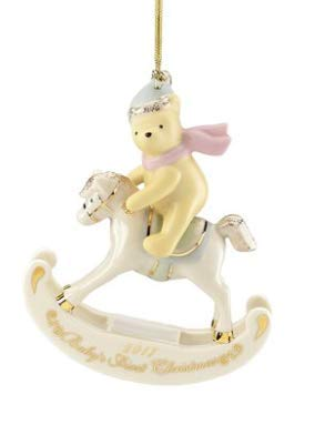 Lenox Disney 2017 Winnie The Pooh on rocking horse Baby's 1st Christmas Ornament