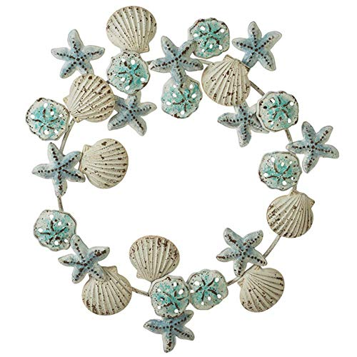 MIDWEST-CBK Ganz Layered Shell Sand Dollar and Starfish Wreath Wall Decor