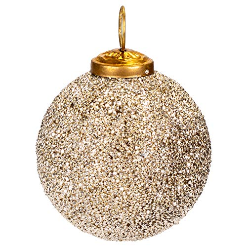First of a Kind 3″ Round X 3″ H Glass Ball Ornament w/Silver Glass Seed Beads