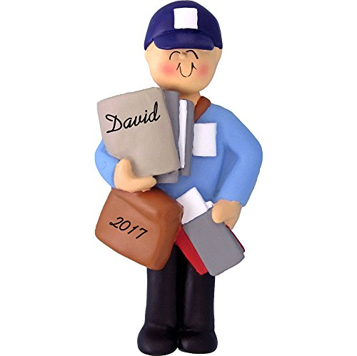 Calliope Designs Letter Carrier Personalized Christmas Ornament – Male – Mailman – 4″ Tall – Handpainted Resin – Free Customization