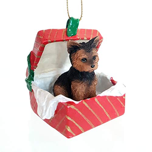 Eyedeal Figurines YORKSHIRE Terrier YORKIE Dog sits in a Polyresin RED Gift Box Christmas Ornament New RGBD131