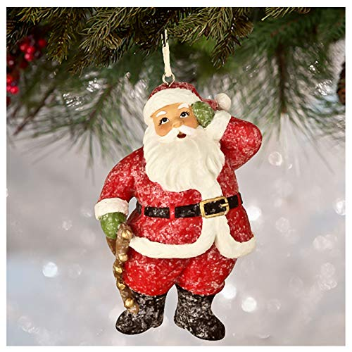 Bethany Lowe Santa Claus w/Bells Christmas Tree Ornament Retro Vintage Style Decor