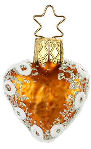 Inge-Glas Green Mini Lebkuchen Hearts 1-050-17c German Glass Christmas Ornament