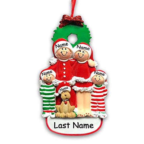 Personalized Holiday Family of 4 with Dog Hanging Christmas Ornament Family in Christmas Pajamas and Santa Claus Hats with Custom Names