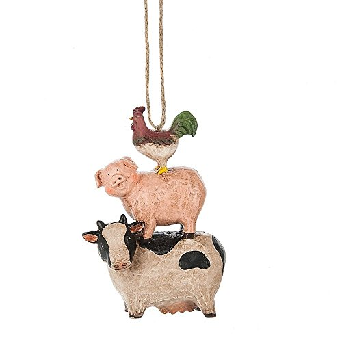 Rooster Pig and Cow Stack Resin Ornament by Midwest-CBK
