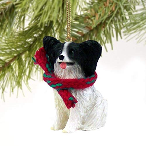 Papillon Miniature Dog Ornament – Black & White