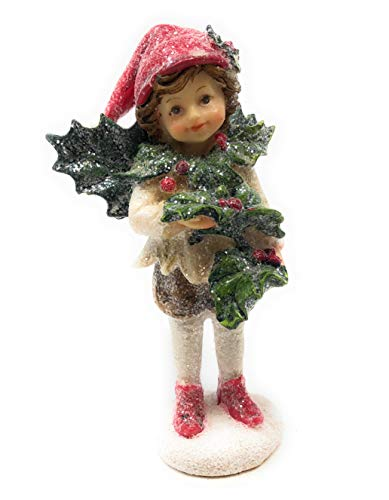 Perfectly Festive Mark Roberts – Christmas Elf Figurines (Holly Collar & Holly in Hands, 5″)