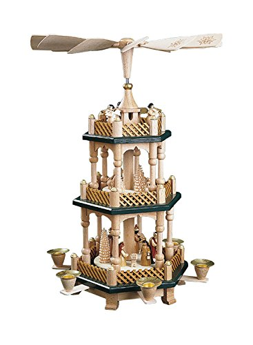 Alexander Taron 16732 Richard Glaesser Pyramid-3 Tiers-Nativity Scene, Wise Men, Shepherds and Angels-17 H W x 12.5″ D, Brown