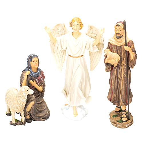 Nativity Shepherds and Angel for Three Kings Gifts 10 inch Christmas Nativity Set