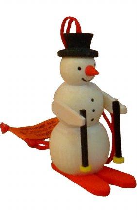 Alexander Taron Importer 4335 Graupner Ornament – Snowman Skier – 1.75″ H x .75″ W x 1″ D, Brown