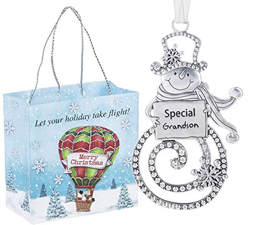 Ganz U.S.A., LLC Swirls of Christmas Snowman Ornaments Special Grandson Double Sided for Holiday Christmas Tree Decor Gifts 2019 from The Grandparents Presented in a Holiday Bag with a Snowman