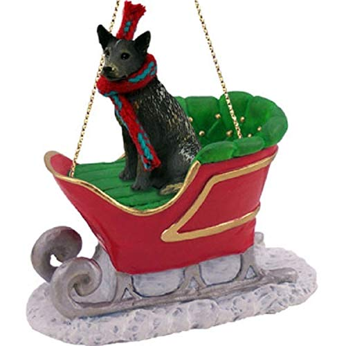 Conversation Concepts Australian Cattle Dog Blue Sleigh Ride Ornament