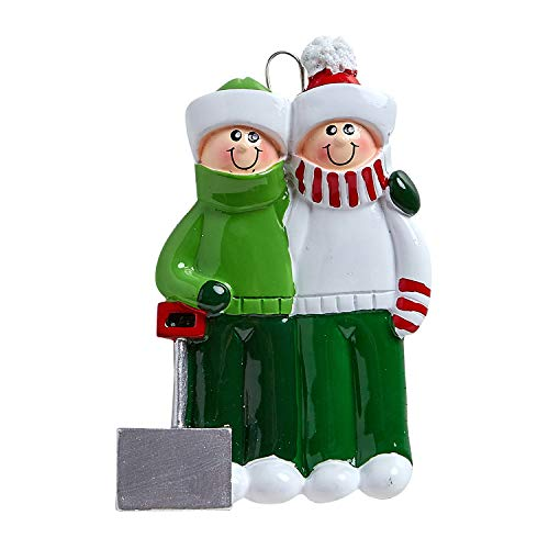 Personalized Snow Shovel Family of 2 Christmas Tree Ornament 2019 – Cute Couple Green Winter Cloth Hold Spade Tradition Hug Gift 1st Love Romantic Year – Free Customization (Two)