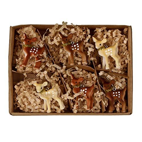 Bethany Lowe Set/6 Brown Deer Fawn Christmas Tree Ornaments Retro Vintage Decor