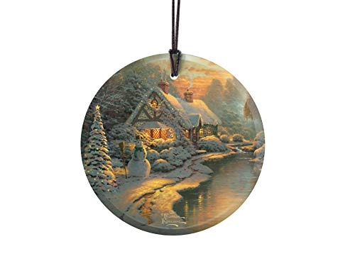 Thomas Kinkade – Christmas Evening – Starfire Prints Glass – Home and Tree Decoration – Ideal for Gifting