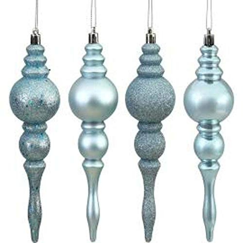 Vickerman N500062 Shatterproof Finial with 4 Separate Finishes (shiny, matte, glitter and sequin) in 8 per box, 4″, Sea Blue