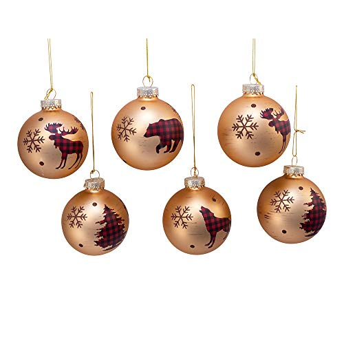 Kurt Adler Kurt S. Adler 80MM Gold with Plaid Animal and Trees Glass Ball, 6 Piece Box Ornament, red, Black