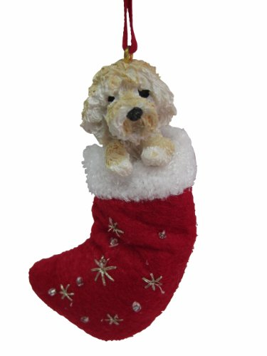"Goldendoodle Christmas Stocking Ornament with ""Santa's Little Pals"" Hand Painted and Stitched Detail"