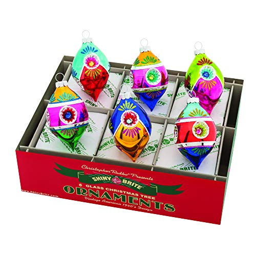 Christopher Radko Multi Reflector Tulip Colorful 4 inch Glass Holiday Ornaments Box of 6