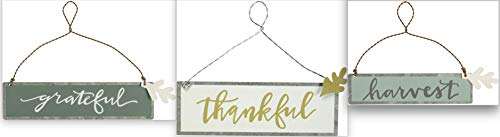 Primitives by Kathy Fall Thanksgiving Bundle Set 3 Tin Ornaments – 3 Different Sizes – Thankful Grateful Harvest
