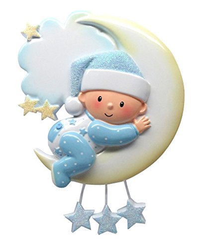 Polar X Baby On Moon (Boy) Personalized Christmas Ornament