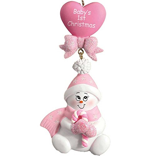 Personalized Candy-Cane Baby's 1st Christmas Tree Ornament 2019 – Cute Snowman Pink Glitter Hat Mitten Heart Girl's First New Mom Shower Gift – Free Customization (Pink)