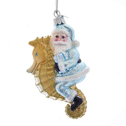 Kurt Adler Noble Gems Santa on Seahorse Glass Hanging Ornament, 5 inches Tall