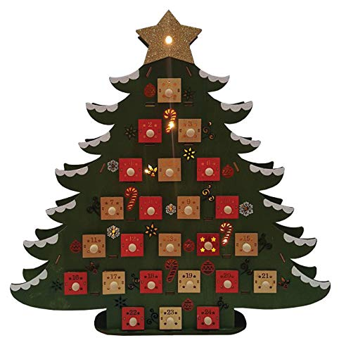 Santa's Workshop 18″ Wooden Advent Tree Calendar