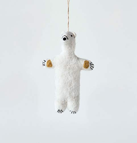 Creative Co-op Ivory Wool Felt Polar Bear Ornament