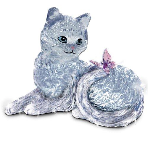 The Bradford Exchange Smitten Crystal Kitten and Butterfly Figurine