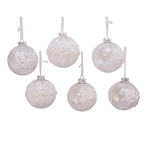 Kurt Adler Kurt S. Adler 80MM Clear with Lace Design Glass Ball, 6 Piece Box Ornament, White