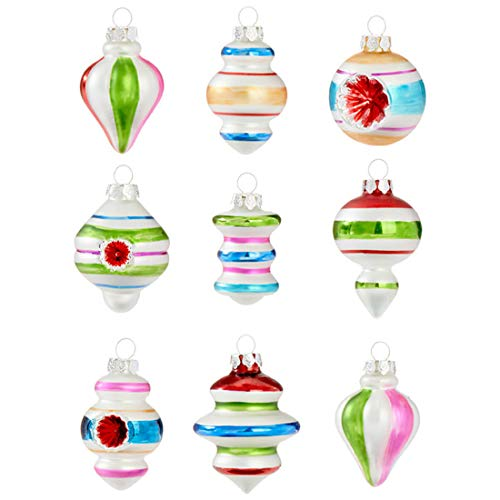 Retro Colorful Stripe 3 x 3 Glass Christmas Hanging Ornaments Boxed Set of 9