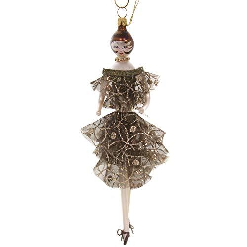 De Carlini Lady in Bronze Dress Glass Italian Christmas Do7644