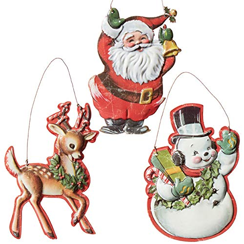 Set of 3 Raz 8″ Vintage Character Metal Christmas Ornament 3912389