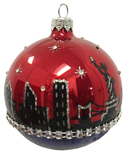 Pinnacle Peak Trading Company New York City NYC Skyline on Ball Polish Glass Christmas Tree Ornament Travel