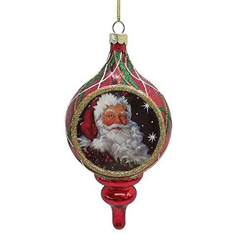 Kurt Adler Red and Green Glass Santa Hanging Ornament