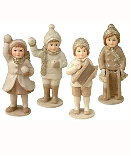 Bethany Lowe Ivory 4 Pc Christmas Village Boys and Girls Kids Figure Set