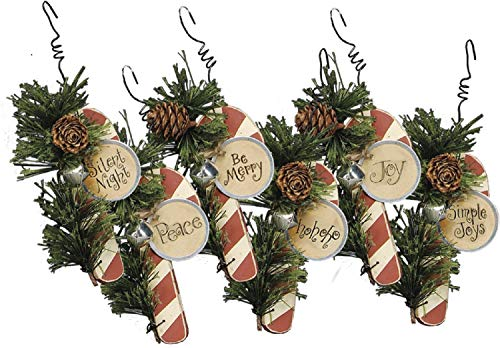 Wooden Candy Cane Ornaments – Set of 6