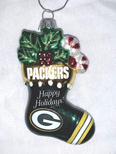 Officially Licensed NFL Green Bay Packers Holiday Stocking Blown Glass Christmas Tree Ornament