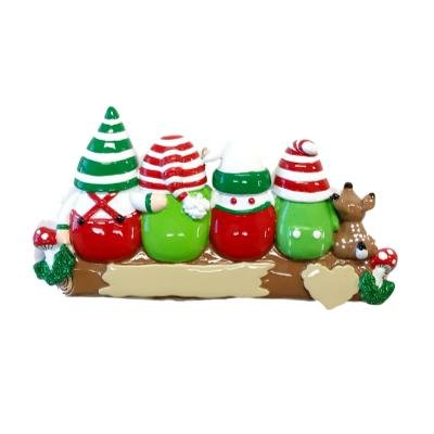 Gnome/Elf Forest Personalized Christmas Ornament (Family of 4)