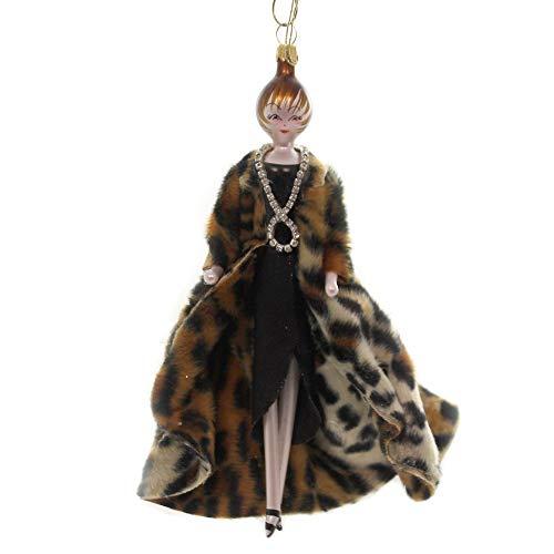 De Carlini Lady with Leopard Coat Glass Italian Christmas Do7570