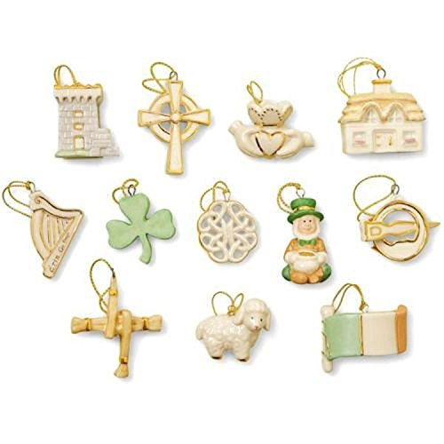 Lenox St Patrick's Day Miniature Tree Ornaments Set 12 Luck Of The Irish Shamrock
