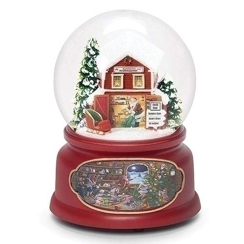 Musical Santa Workshop Rosy Red 6 inch Resin Holiday Snow Globe Dome