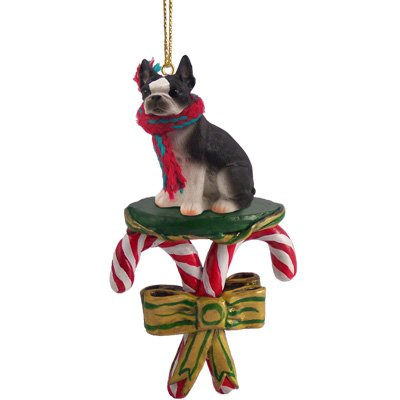 Conversation Concepts Boston Terrier Candy Cane Christmas Ornament