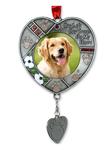 BANBERRY DESIGNS Pet Memorial Christmas Ornament – Paw Prints on My Heart Poem Saying – Lobster Clasp Attached to Hang Your Dogs ID Tags