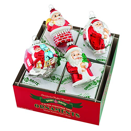 Christopher Radko Santa Figure Rosy Red 3 inch Glass Holiday Decorative Hanging Ornaments Box of 4