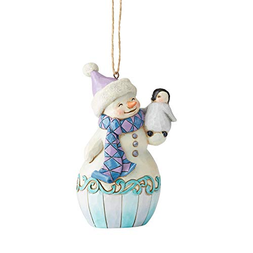 Enesco Jim Shore Heartwood Creek Snowman with Penguin Hanging Ornament