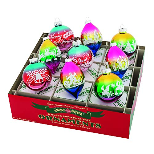 Christopher Radko Signature Flocked Tulip and Round Ombre 3 inch Glass Holiday Ornaments Box of 9