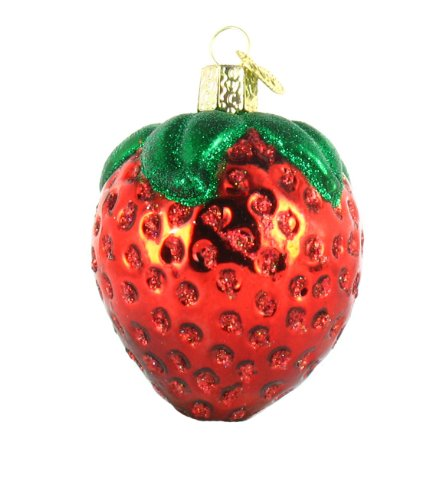 Old World Christmas Ornaments: Summer Strawberry Glass Blown Ornaments for Christmas Tree (28106)